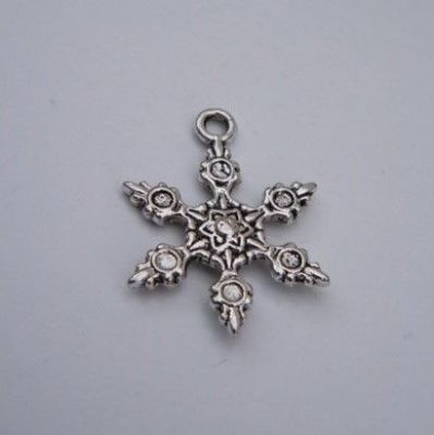 Frosty Snowflake Wine Glass Charm - Full Bead Style